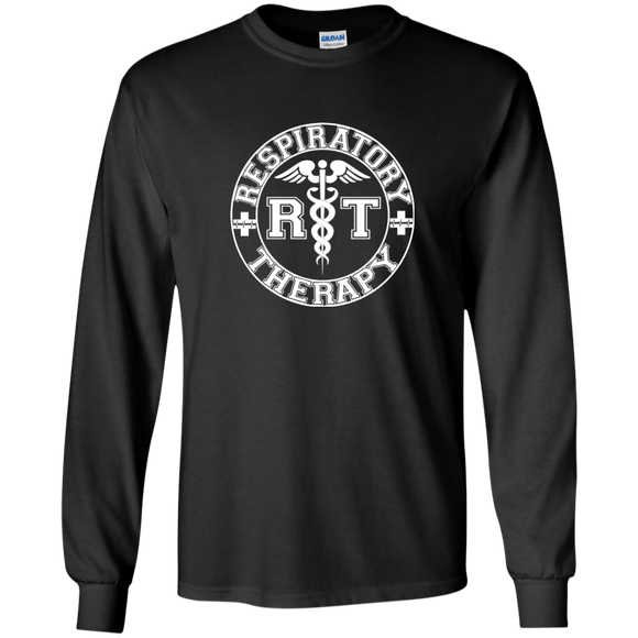 white respiratory therapy logo black long sleeve t-shirt