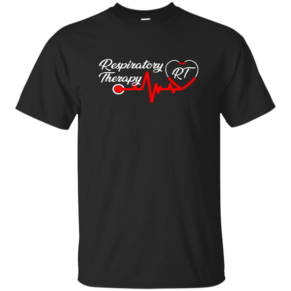 respiratory therapy stethoscope heart black t-shirt