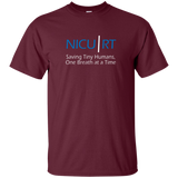 Respiratory therapist NICU RT Saving Tiny Humans one breath at a time maroon t-shirt