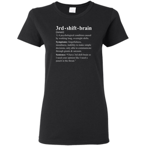 3rd shift brain dictionary entry black women's t-shirt