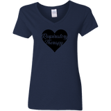respiratory therapy heart navy blue women's v-neck t-shirt