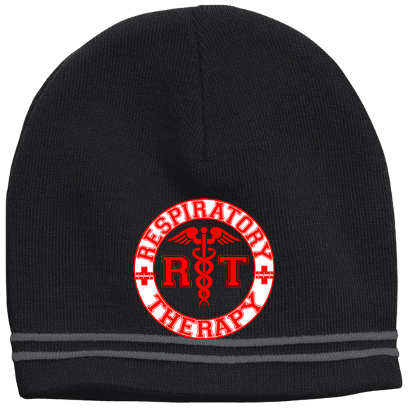 red respiratory therapy logo black beanie hat