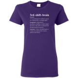 3rd shift brain dictionary entry purple women's t-shirt