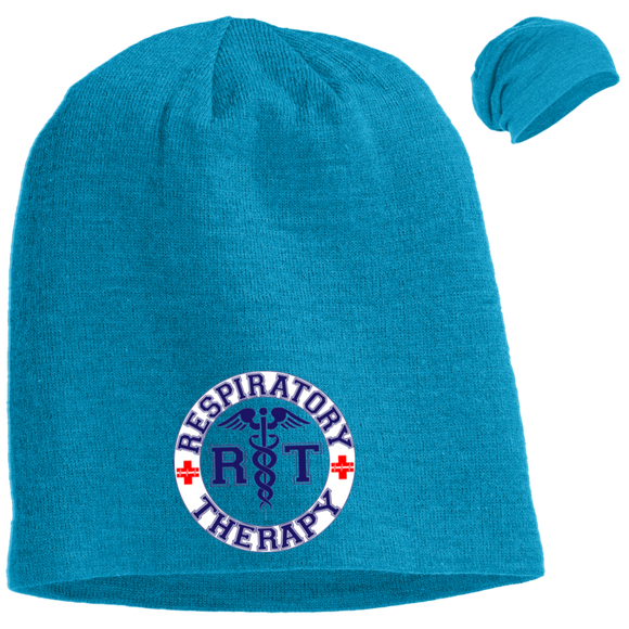 blue respiratory therapy logo light blue slouch beanie hat