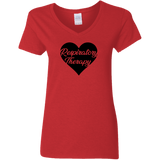 respiratory therapy heart red women's v-neck t-shirt