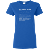 3rd shift brain dictionary entry blue women's t-shirt