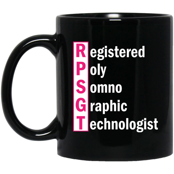 respiratory therapist pink registered poly somno graphic technologist black 11 oz mug
