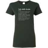 3rd shift brain dictionary entry forest green women's t-shirt