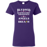 blessed are the respiratory therapists for they are angels of breath purple women's t-shirt