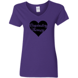 respiratory therapy heart purple women's v-neck t-shirt