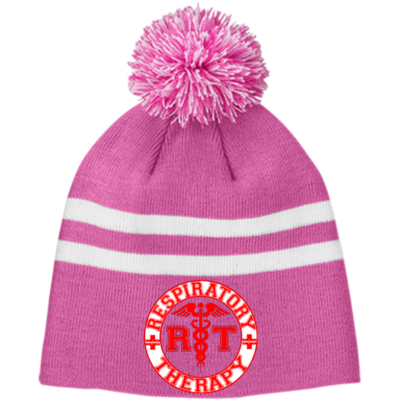 red respiratory therapy logo pink pom beanie hat