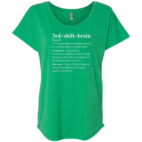 3rd shift brain dictionary entry green women's dolman sleeve t-shirt
