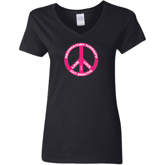respiratory therapy live love and just breathe peace symbol women's black v-neck t-shirt