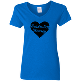 respiratory therapy heart blue women's v-neck t-shirt