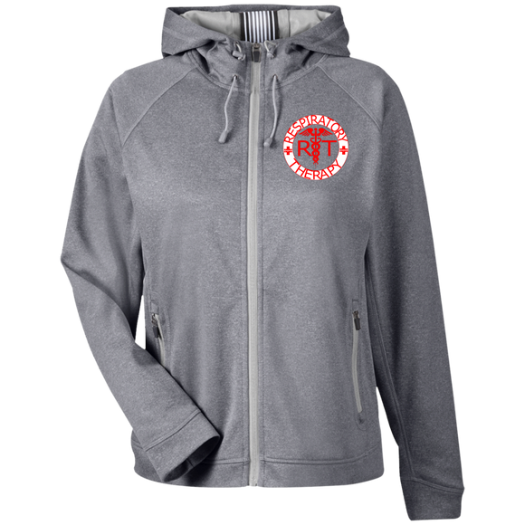 red respiratory therapy logo women's light gray performance hoodie