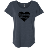 respiratory therapy heart navy women's dolman sleeve shirt