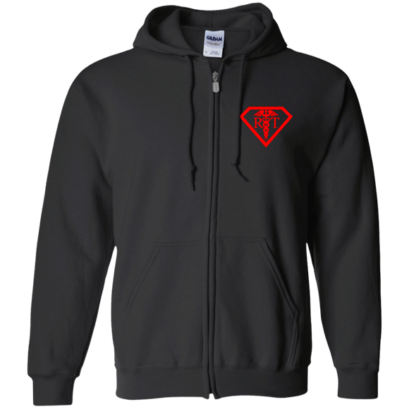 red what's your superpower logo black zip up hoodie