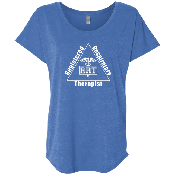 registered respiratory therapist triangle logo blue women's dolman sleeve t-shirt