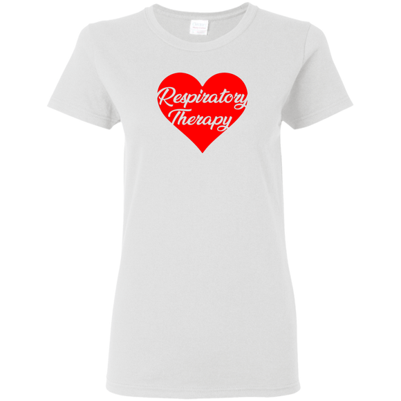 respiratory therapy heart valentine's edition white women's t-shirt