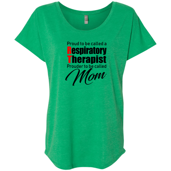 respiratory therapist proud RT prouder to be called mom green women's dolman sleeve t-shirt