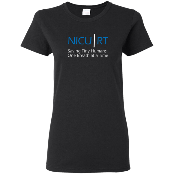 Respiratory therapist NICU RT Saving Tiny Humans one breath at a time black women's t-shirt
