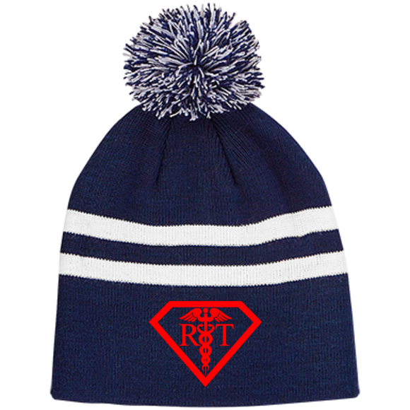 red respiratory therapist superpower logo navy blue pom beanie hat