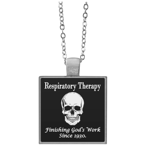 respiratory therapy finishing god's work since 1930 black square necklace