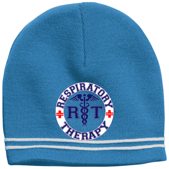blue respiratory therapy logo light blue beanie hat