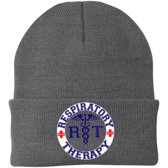 blue respiratory therapy logo gray knit hat