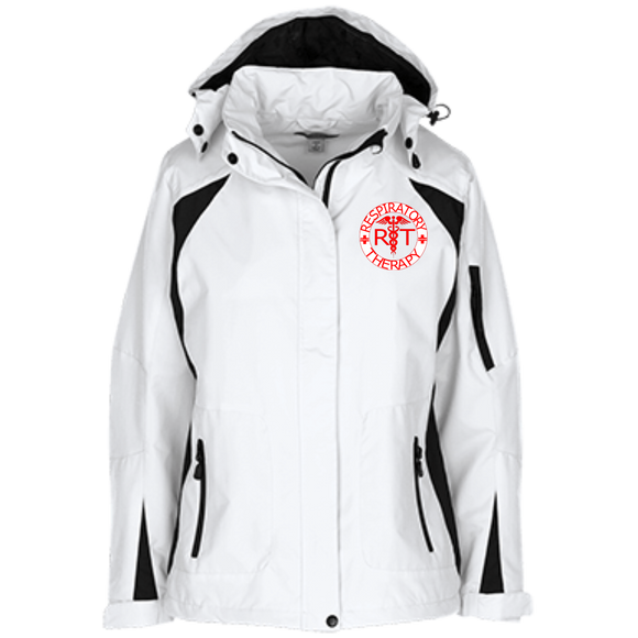 red respiratory therapy logo women's white embroidered jacket