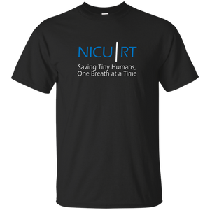 Respiratory therapist NICU RT Saving Tiny Humans one breath at a time black t-shirt