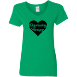respiratory therapy heart green women's v-neck t-shirt