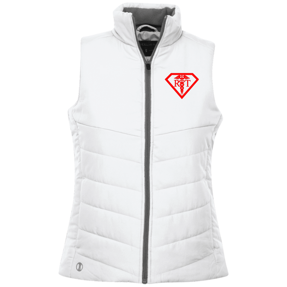 red respiratory therapist superpower logo women's white embroidered quilted vest