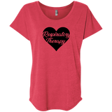 respiratory therapy heart red women's dolman sleeve shirt
