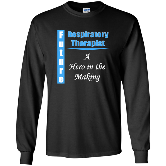 blue future respiratory therapist hero in the making black long sleeve t-shirt