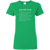 3rd shift brain dictionary entry green women's t-shirt
