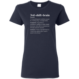 3rd shift brain dictionary entry navy blue women's t-shirt