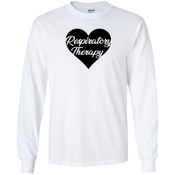 respiratory therapy heart white long sleeve t-shirt