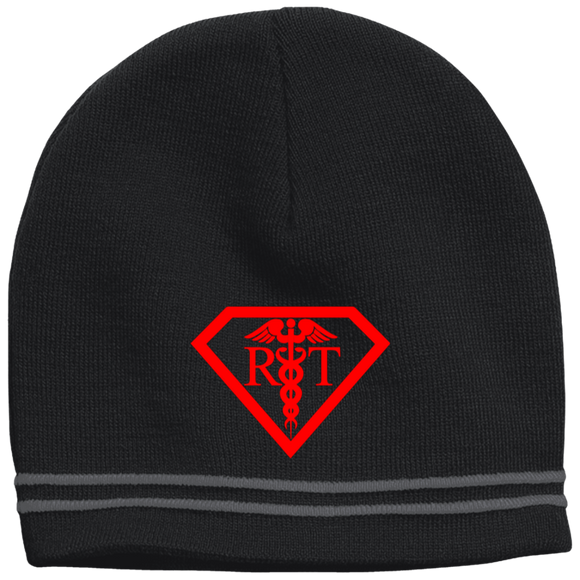 red respiratory therapist superpower logo black beanie hat