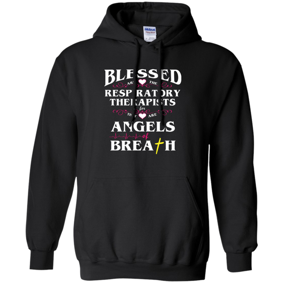 blessed are the respiratory therapists for they are angels of breath black unisex hoodie