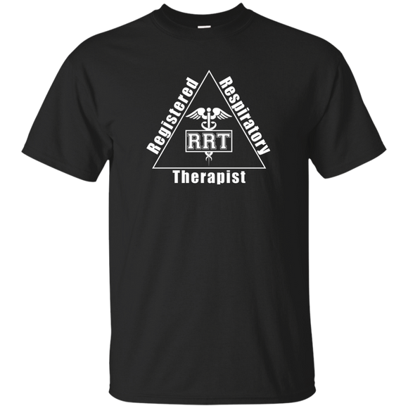 registered respiratory therapist triangle logo black t-shirt