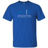 Respiratory therapist NICU RT Saving Tiny Humans one breath at a time blue t-shirt