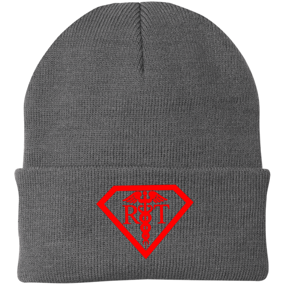 red respiratory therapist superpower logo gray knit hat