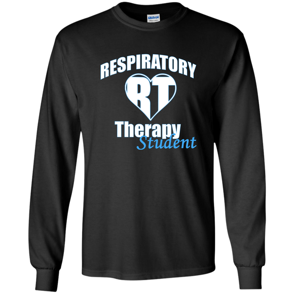 respiratory therapy student blue heart black long sleeve t-shirt