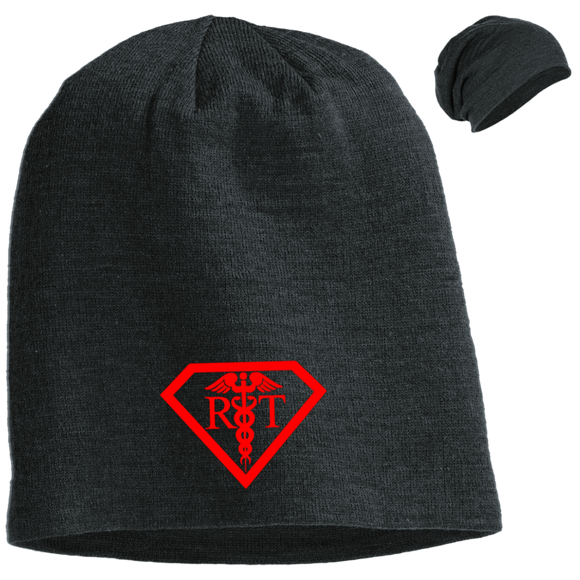 red respiratory therapist superpower logo black slouch beanie hat