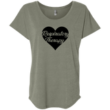 respiratory therapy heart gray women's dolman sleeve shirt