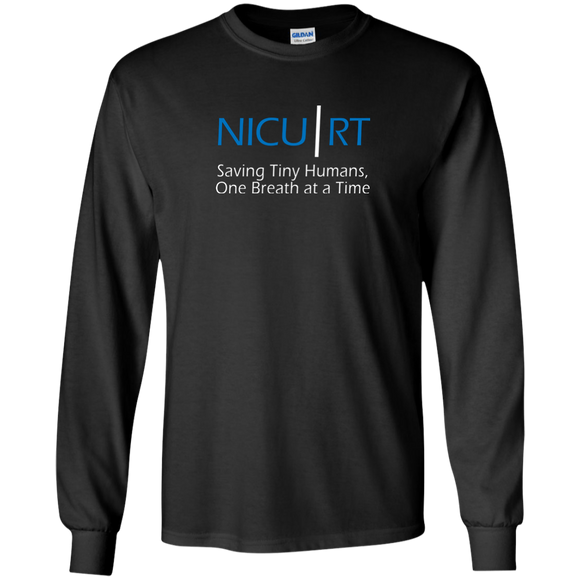 Respiratory therapist NICU RT Saving Tiny Humans one breath at a time black long sleeve t-shirt
