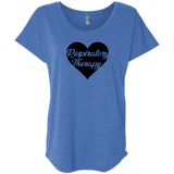 respiratory therapy heart blue women's dolman sleeve shirt