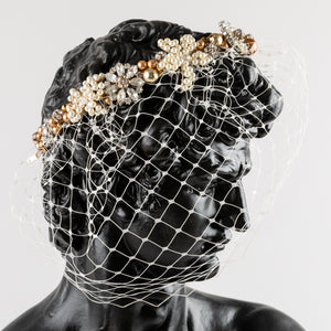 Birdcage Veil with Mixed Bead Hair Band