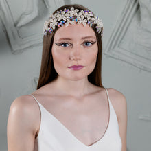 Pearl Flower and Iridescent Crystal Hair Band